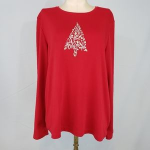 Croft & Barrow red Christmas Tree tee size Large